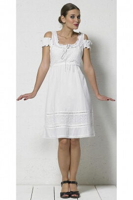 short white cotton dress lined lace