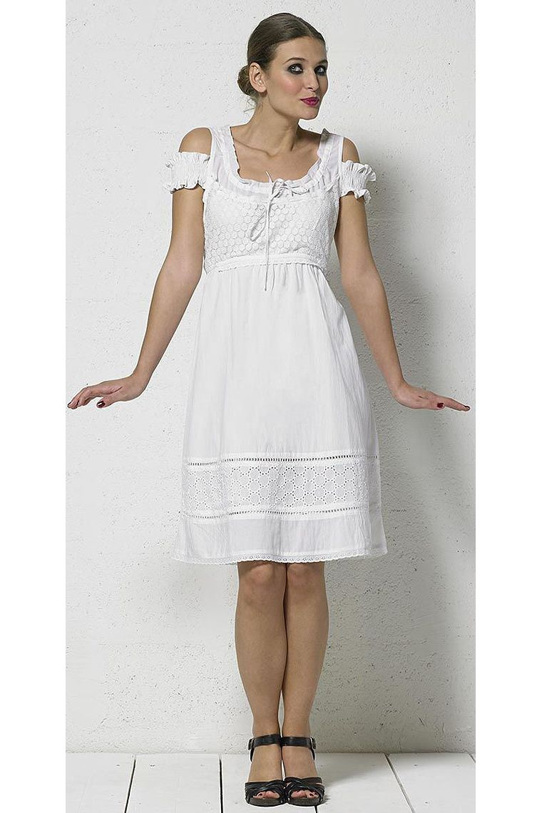 3b4a54cdd Vestido corto de algodón blanco de encaje forrado ...