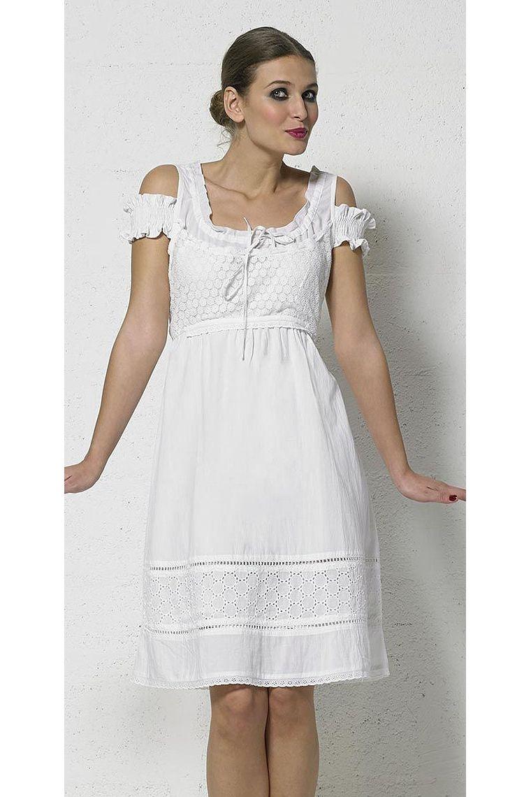 c5747cda0 ... Vestido corto de algodón blanco de encaje forrado ...