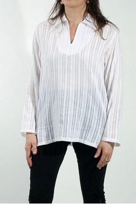 Chemise coton femme col V