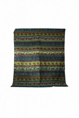 Tenture coton motifs terra éléphants