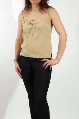 Camisole viscose thin straps with embroidery