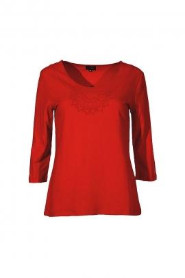 T-Shirt uni manches 3/4 imprimé discret mandala