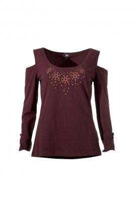T-Shirt ajouré épaules imprimé étoiles