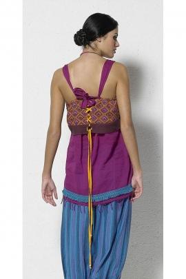 Tunique style Indou coton bretelles franges