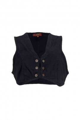 Gilet stone washed court bandes boutons