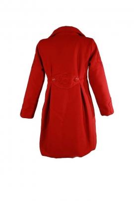 Manteau femme patch fleurs boutons