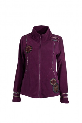 Fleece embroidered collar jacket shoulder straps