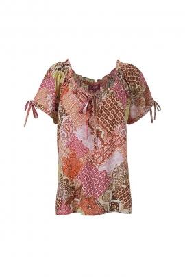 Loose romantic lace-up blouse