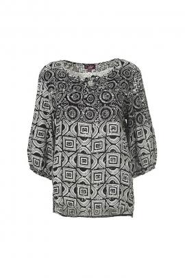 Black and white loose fashion blouse