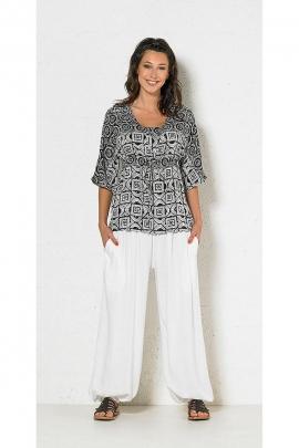Blusa de moda elástico ancho en blanco y negro