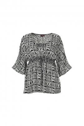 Black and white loose elastiqué fashion blouse