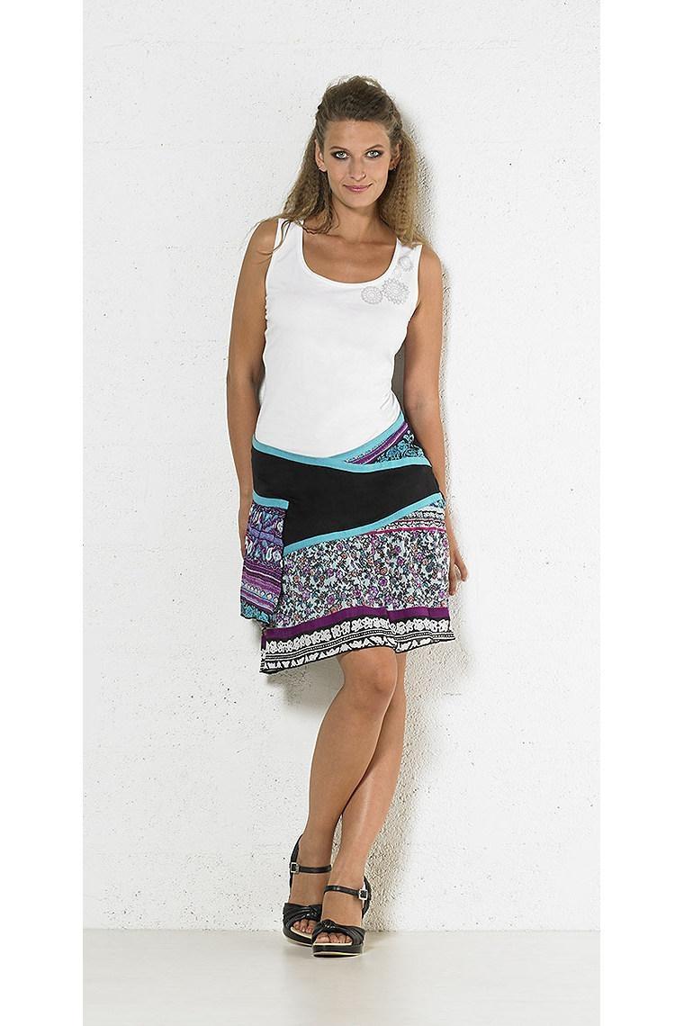 47236a1eb Falda étnica corto estilo mosaico de algodón Talla S Color Turquesa