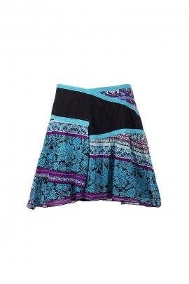 Jupe ethnique courte style patchwork coton