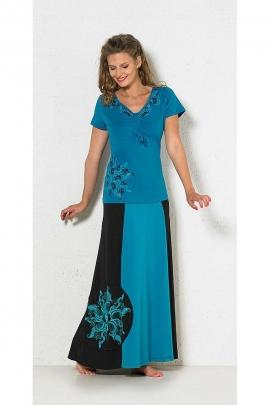 Hippie chic elastane long cotton skirt