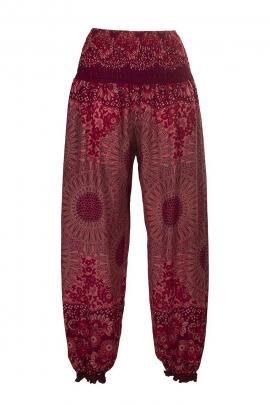 Thai printed elastic baggy trousers
