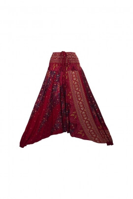Pantalones Harem, impreso elástica de la pluma de estilo Tailandés