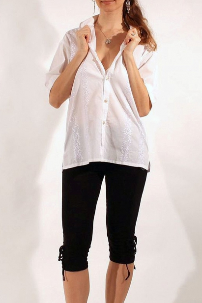 efa8d0d6a0f6cc Embroidered cotton shirt with shell-shaped buttons