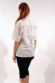 Embroidered cotton shirt with shell-shaped buttons