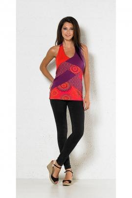 T-shirt dos nu femme style patchwork