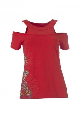 T-shirt ethnique épaules dégagées imprimé rosaces