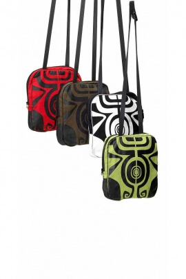 Maori printed cotton messenger bag with buckle