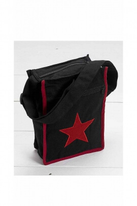 Red star lined cotton messenger bag