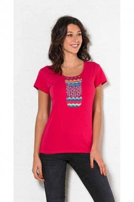 T-shirt coton élasthanne rosace dos