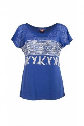 T-shirt motifs ethniques coton élasthanne