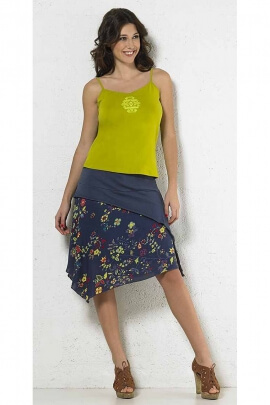 Skirt long middle with a floral print