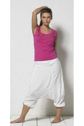 Harem pants white and beige for wife