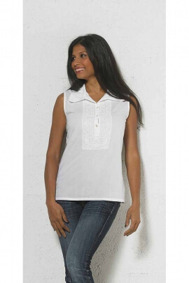 White cotton blouse, embroidered, large collar