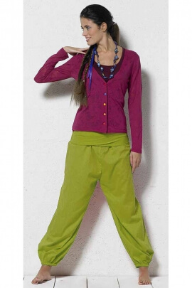 Aladdin trousers for women light cotton voile with mesh belt