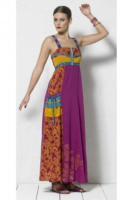 Long dress in cotton voile with patch