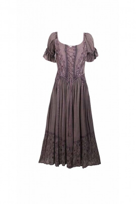 Long dress medieval princess viscose, short sleeves