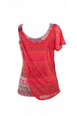Tee-shirt femme imprimé en coton et polyester dévoré