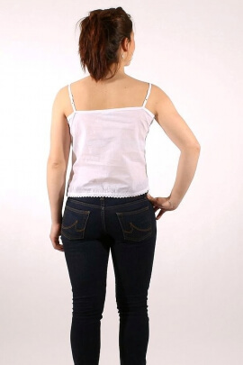 Embroidered cotton top with braces