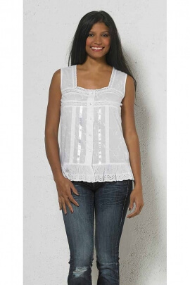Embroidered sleeveless blouse in plain cotton