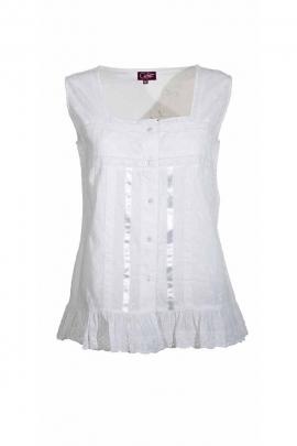 Blusa sin mangas, bordado de algodón reino