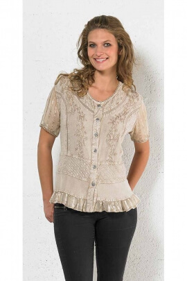 Embroidered short sleeved viscose blouse