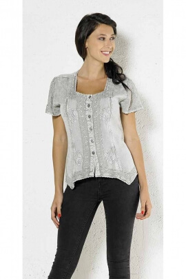 Romantic and original stone washed blouse short sleeve veil