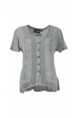 Blusa romántica y original de piedra lavada de manga corta de la vela