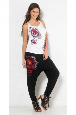 Pantalones Harem étnico de la mujer de la horquilla de alta