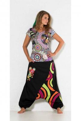 Harem ethnic patchwork low crotch