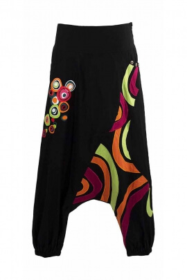 Pantalones harén de la horquilla baja étnico patchwork