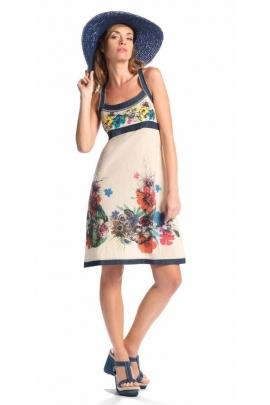 Robe courte en maille coton, chic et originale, imprimé fleurs