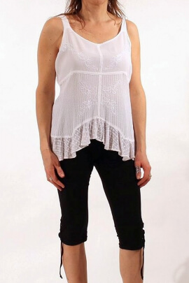 Embroidered viscose top with thin straps