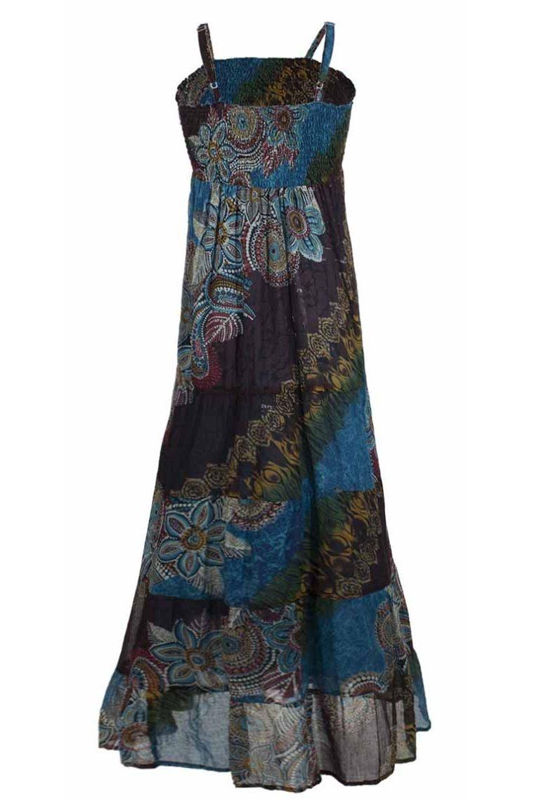 Robe longue légère en voile de coton doublée Taille SM Couleur Turquoise