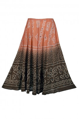 Long skirt in cotton, with degraded colors