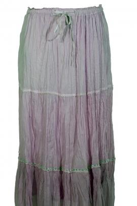 Jupe longue en coton, avec voile à paillettes